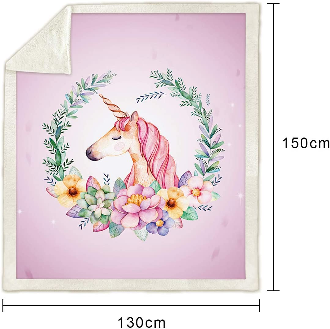 LATH.PIN Couverture Licorne de Flanelle Couverture de Voyage Chaud Doux pour Canap/é Lit Fauteuil Correspondant Dortoir A-Violet, 130/_x/_150/_cm