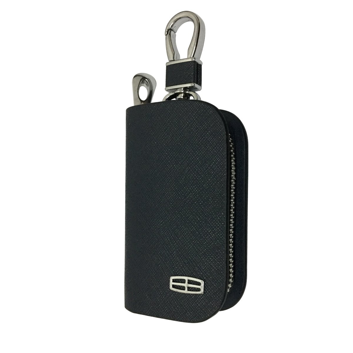 New 1pcs Mesh Black Leather Car Key Wallet Zipper Case Keychain Coin Holder Metal Hook Bag Collection For Lincoln Car Vehicle Auto Lover