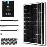 Renogy 200 Watt 12 Volt Solar-Set Solarenergie Solarmodul Solaranlage 100Wx2 Solarpanel mit MPPT 20A Solarregler Laderegler LCD Anzeige, ein paar Verbindungskabel und ein paar Batteriekabel für RV, Caranvan, Wohnmobil und Camper