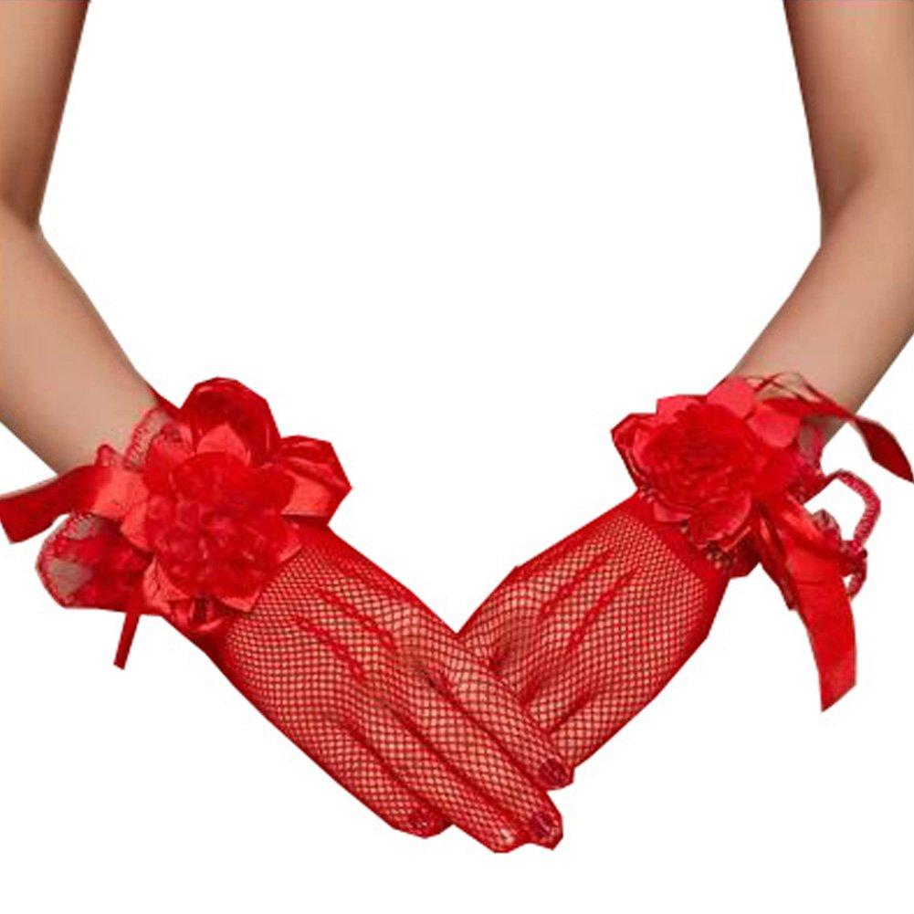 Elegant Lady Formal Banquet Party Bride Pierced Lace Wedding Gloves Bridal Gloves, NO.5