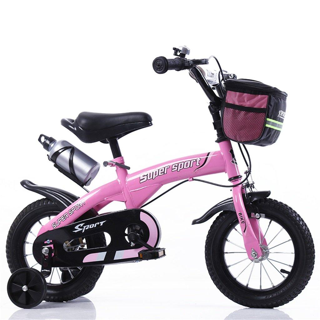 子供の自転車12|14|16|18インチ屋外の子供赤ちゃんキッドマウンテンバイク黒のトレーニングホイールで3-9歳の男の子の女の子のギフト|布バスケット|ウォーターボトルセーフ B078GMKF6F 12インチ|ピンク ぴんく ピンク ぴんく 12インチ