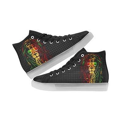 Rasta Lion Kids LED Light UP Shoes/Canvas High Top (US3) vDrsbrN0ll