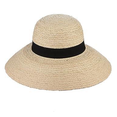 88770bc7 Women Summer Sun Hats-Vintage Round Top Raffia Wide Brim Beach Straw Hats  at Amazon Women's Clothing store: