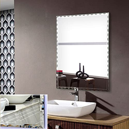 DECORAPORT 24 Inch 32 Inch Frameless Wall-mounted Bathroom Silvered Mirror Rectangle Vertical Horizontal Vanity Mirror A-B106