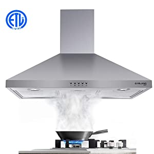 "30"" Range Hood, GASLAND Chef PR30SP 30-inch Stainless Steel Wall Mount Ducted Kitchen Hood, 3 Speed 450 CFM Push Control Exhaust Hood Fan, Convertible Chimney-Style, LED Lights, Aluminum Mesh Filters"