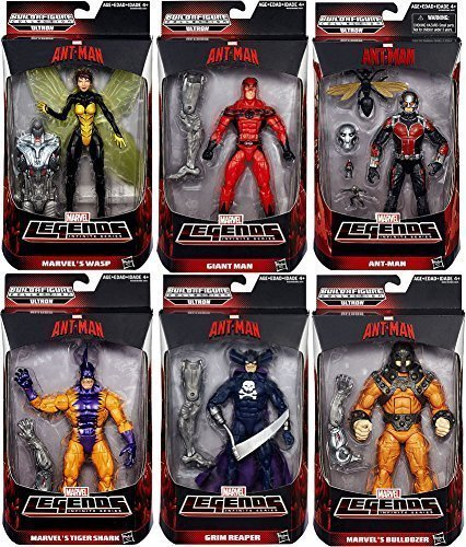 Ant-Man Marvel Legends 6 Infinite Series Build-A-Figure Collection - Ultron: Giant Man, Grim Reaper, Wasp, Bulldozer, Ant-Man, Tigershark Action Figures Wave 1 - Set of 6 by Hasbro