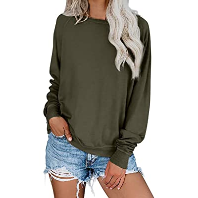 Alelly Women's Casual Loose Fit Crew Neck Long Sleeves Pullover Sweatshirt Solid Color Ribbed Cuffs Hems Outwear Tops at Amazon Women's Clothing store