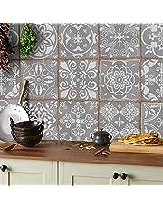 Tile Style Decals 24 x mozaïektegelstickers (T1Grey) voor tegels van 15 x 15 cm, 24 stuks tegelstickers voor badkamer en keuken, decoratieve tegelfolie voor badkamer en keuken