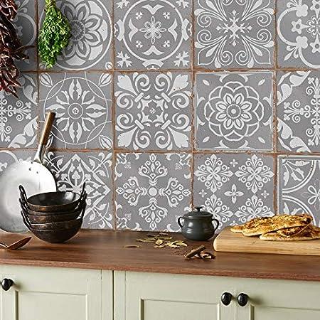 15x15cm - 24 pegatinas 24x azulejos pegatinas Mezcla gris L/ámina impresa 2d PEGATINAS grises lisas para pegar sobre azulejos cuadrados de 15cm en cocina ba/ños