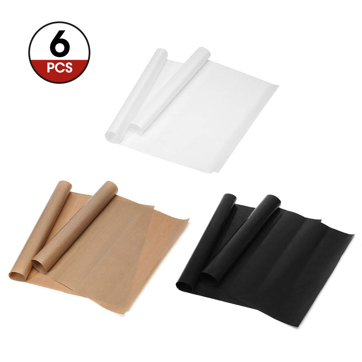 ARTISTORE 3 COLORS PTFE Teflon Sheets for Heat Press Transfers Sheet, 6 x 20'' Heat Resistant Craft Sheet 100% Non Stick Protects Iron and Work Area 6 PACK ARTISTOREweodogkw48