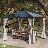 Cheap Bali Outdoor 10 x 10 Foot Black Rust Proof Aluminum Framed Hardtop Gazebo with Grey Curtains