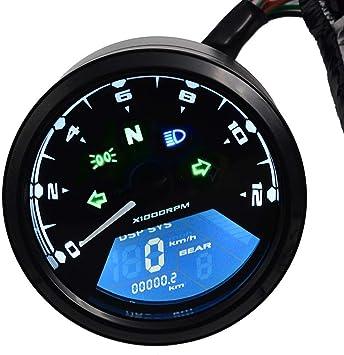 12000 RPM Universal LED Motocycle Tachometer Analogue Tacho Gauge Black 12V Bike