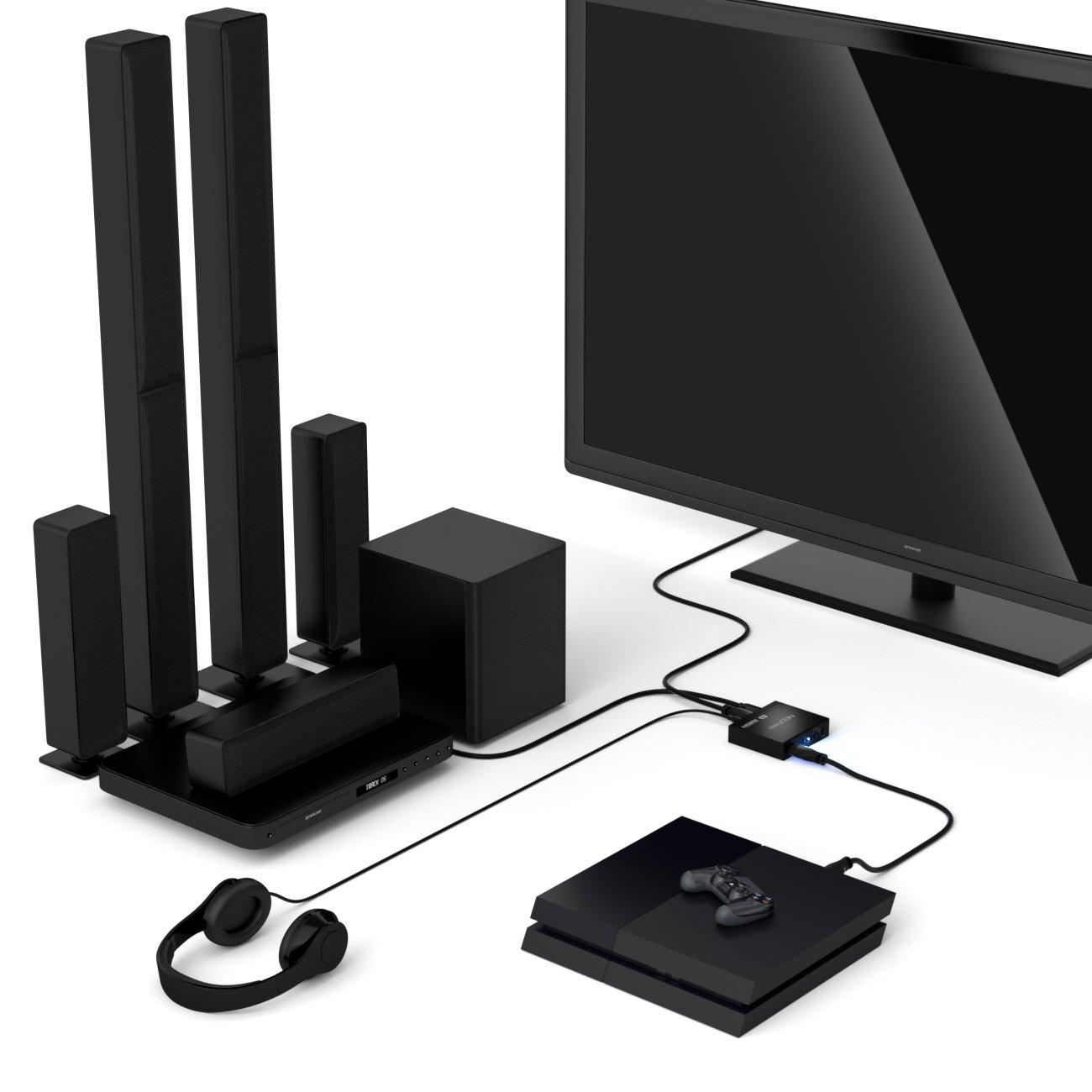 deleyCON 4K HDMI Audio Extractor Convertitore Adattatore Audio Digitale Dolby Digital HDMI SPDIF Convertitore Digitale Analogico Stereo Toslink Ottico L//R