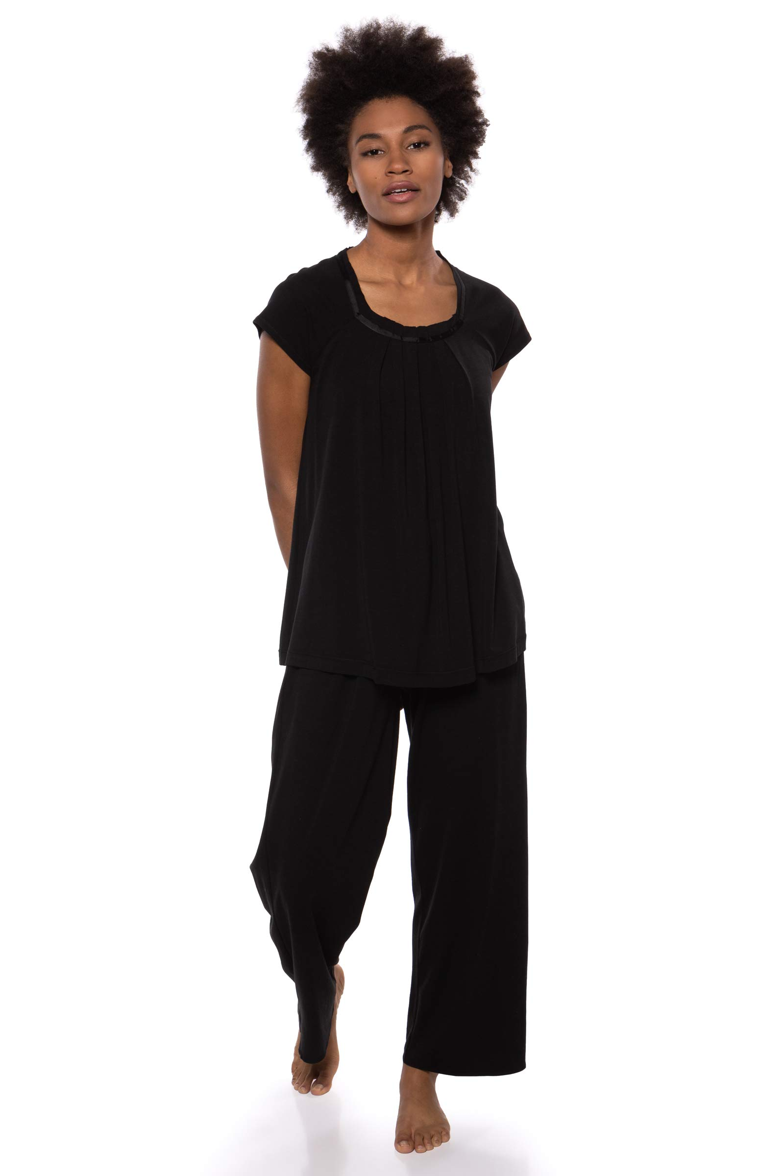 Texere Women's Pajamas in Bamboo Viscose (Bamboo Bliss, Black, 2X) Valentines Gifts for Her by TexereSilk