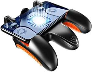 ZDMSEJ Mobile Game Controller, Cell Phone Game Triggers Sensitive Aim Keys,Game Trigger Joystick Gamepad Grip for Android and iOS Smartphone with Cooling Fan