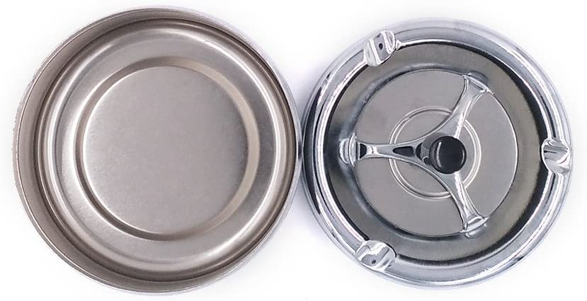chrome-colored Wukong Round Push Down Spinning Ashtray Fashionable Windproof Ashtray with Spinning Tray Creative Gift