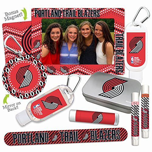 NBA Portland Trail Blazers Platinum Variety Set— with 2 Lip Shimmers, Lip Balm, Nail File, Mirror, Sanitizer, Lotion, Mint Tin, Magnetic Picture Frame. NBA Basketball Gifts for Women, Mother's Day. (Nba Photo Basketball)