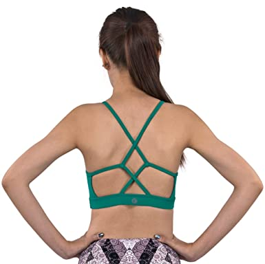 bbf3b56342 Cross-Strap Forest Green Yoga Sports Bra WireFree   Padded with Removable  Cups (S