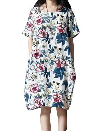 7ed8305e178 Robe Femme Manche Courte Fleuri Imprimé Coton Lin Vintage Tunique Robe  Grande Taille  Amazon.fr  Vêtements et accessoires