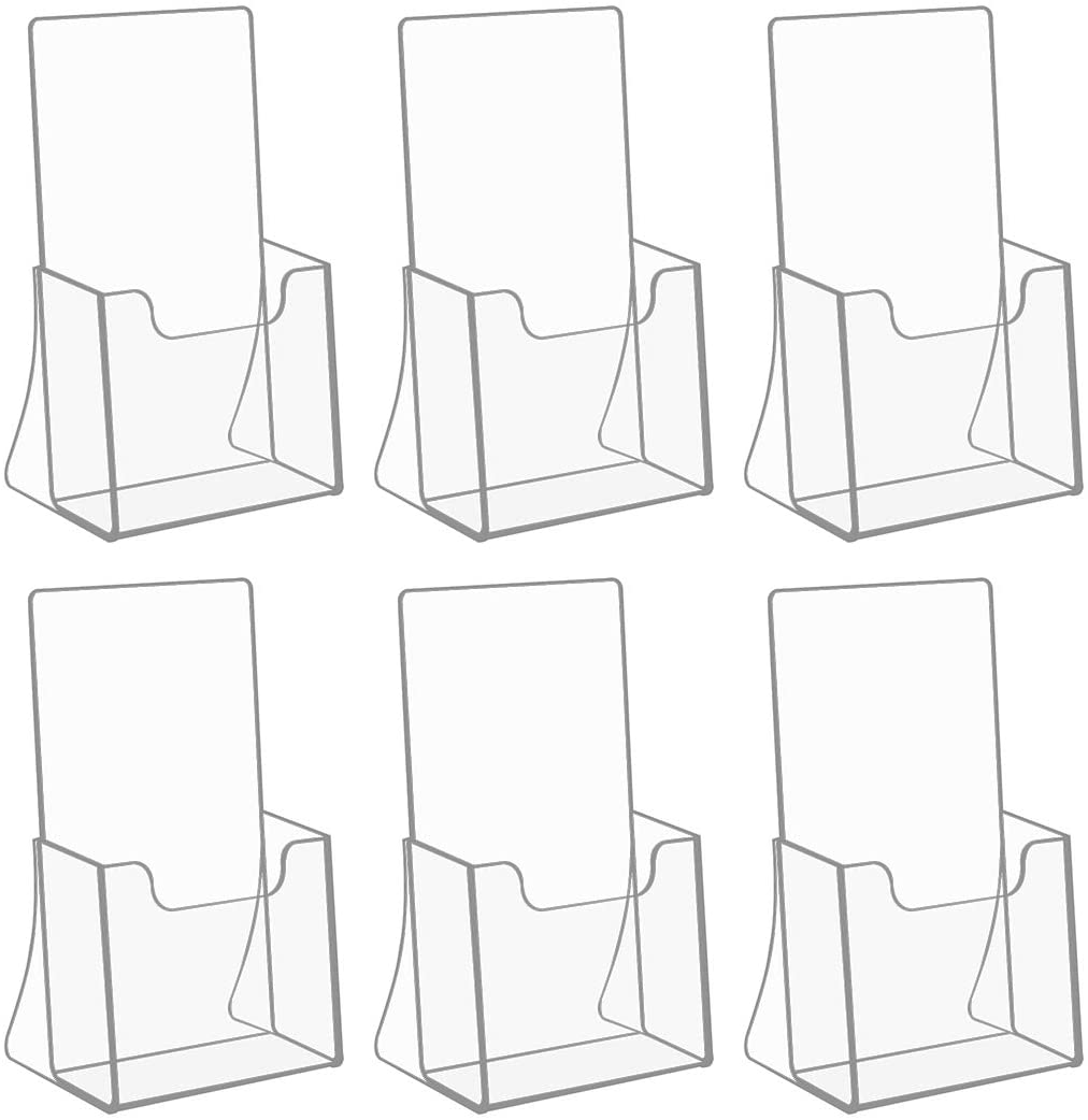 NIUBEE Acrylic Brochure Holder for 4'' Trifold Pages, 50% Thicker Countertop Acrylic Literature Holder Plastic Flyer Display Stand for Magazine, Pamphlet, Booklets, Menu, Journals, 6 Pack