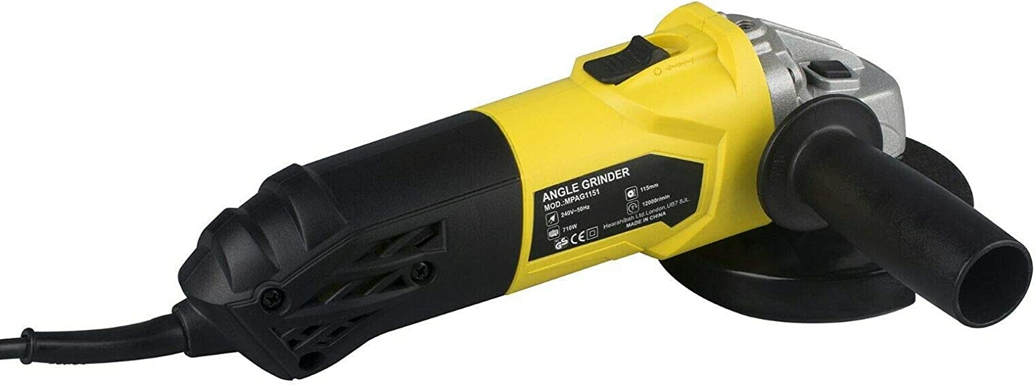 Sanding Cut Metal Piping 750W 240V Corded Angle Grinder with 115mm Heavy Duty Grinding Disc Grind Mortar Cutting or Grinding Smooth Surfaces Remove Rust