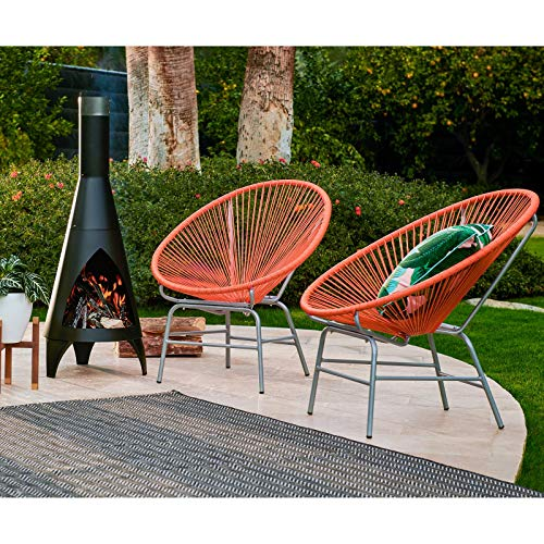 Set of 2 Summer Orange Acapulco Chairs Outdoor Patio Lounge...
