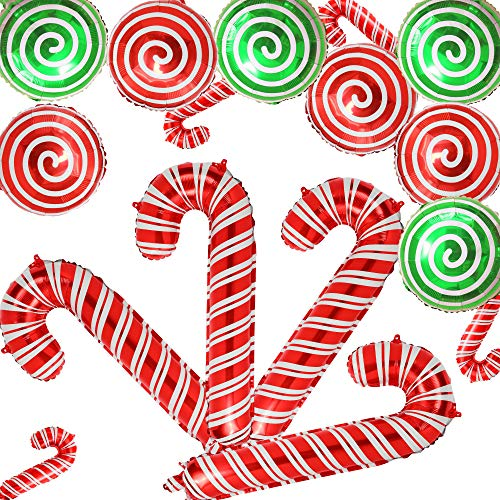 16 Pcs Christmas Candy Cane Foil Mylar Balloons Big Xmas Birthday Party Decoration Supplies Photo Backdrop Red And White Green Sweet Candies Theme (Green And Theme White Christmas)