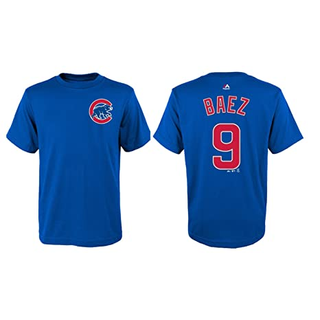 new products e9bb5 34f93 Majestic Javy Baez Chicago Cubs Youth Blue Name and Number Player T-shirt