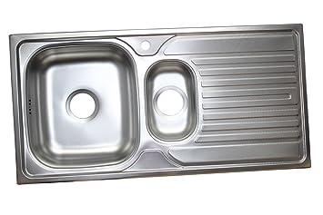 GroBartig Edelstahl Einbauspüle 1,5 Becken 100cm X 50cm Mit Hahnloch Rechts  Küchenspüle Edelstahlspüle Küchen