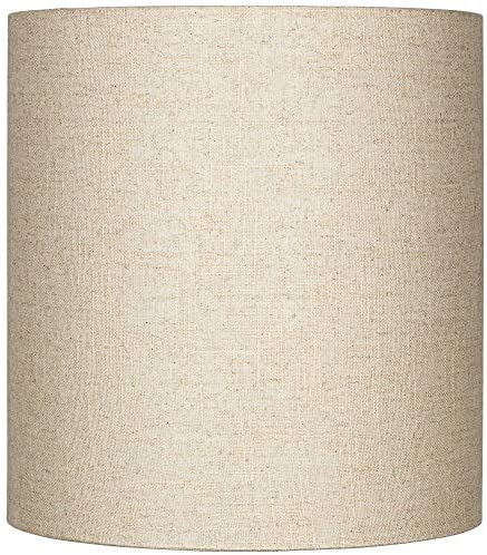 Oatmeal Tall Linen Drum Shade 14x14x15 Spider Brentwood