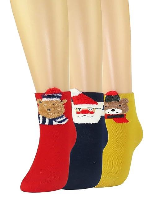 FULIER Mujeres Niñas Festivo Calcetines de Regalo de Navidad Diseño Lindo Calcetines Divertidos de Colores (