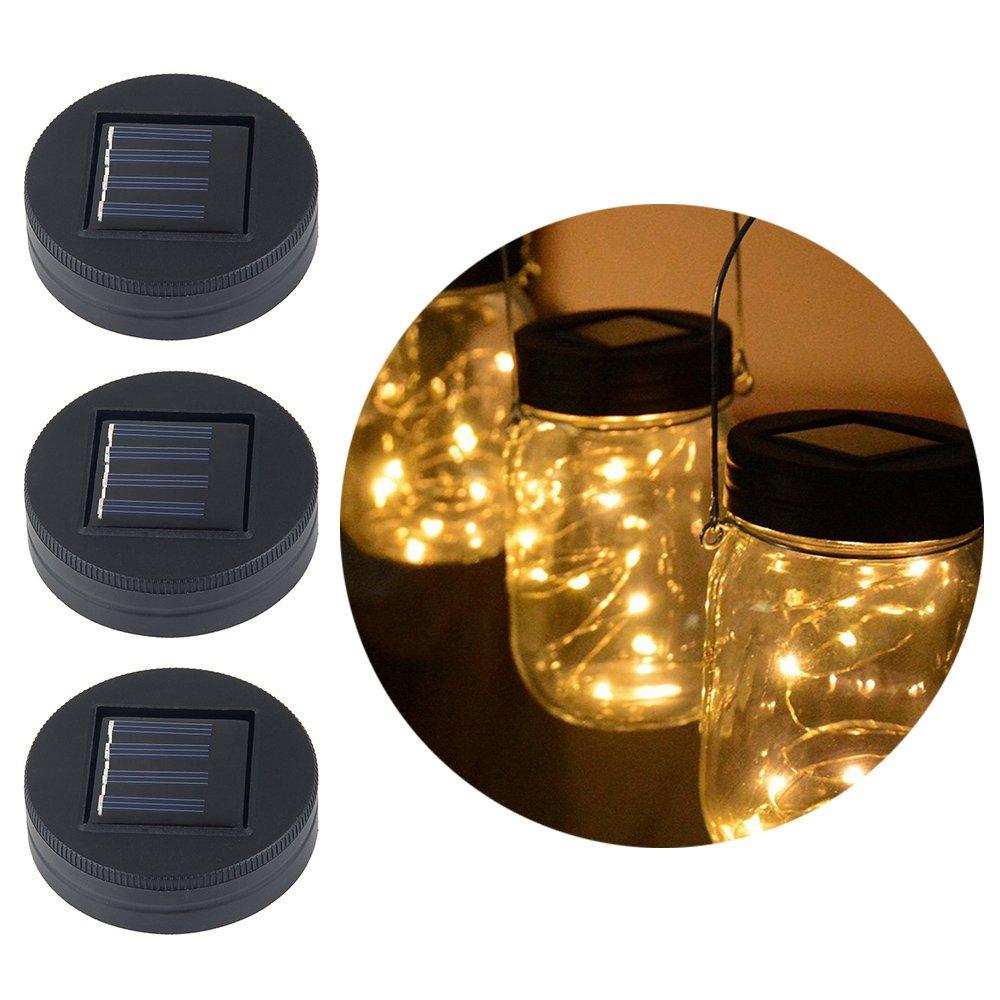 Pawaca Solar Powered Mason Jar Lights,3 Pack Garden Decor Mason Jar Lights 20 LED Solar Powered Fairy Pendant Light,Best for Regular Mouth Mason Jar Decor,Home Decoration Lighting (Jars Not Included)