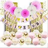 Baby Shower Decorations for Girl Its a Girl Baby Shower Hollow Paper Fan Balloons Banner Gold Foil Fringe Curtain Kit for Baby Shower Party Decoration