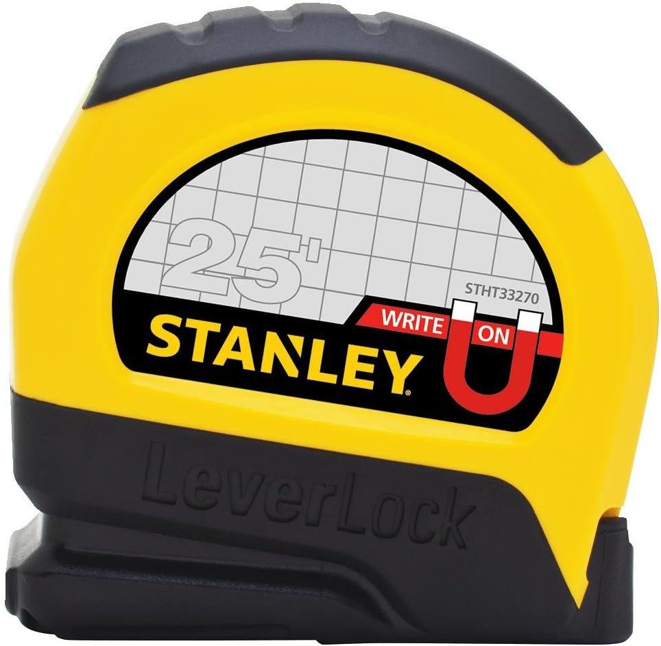 Foot Tip Stanley FBA STHT33281L 25 ft Magnetic Tip /& Fractional Read LeverLock Tape Measure