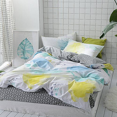 Green White Leaf Bed set is Cool gifts for plant lovers