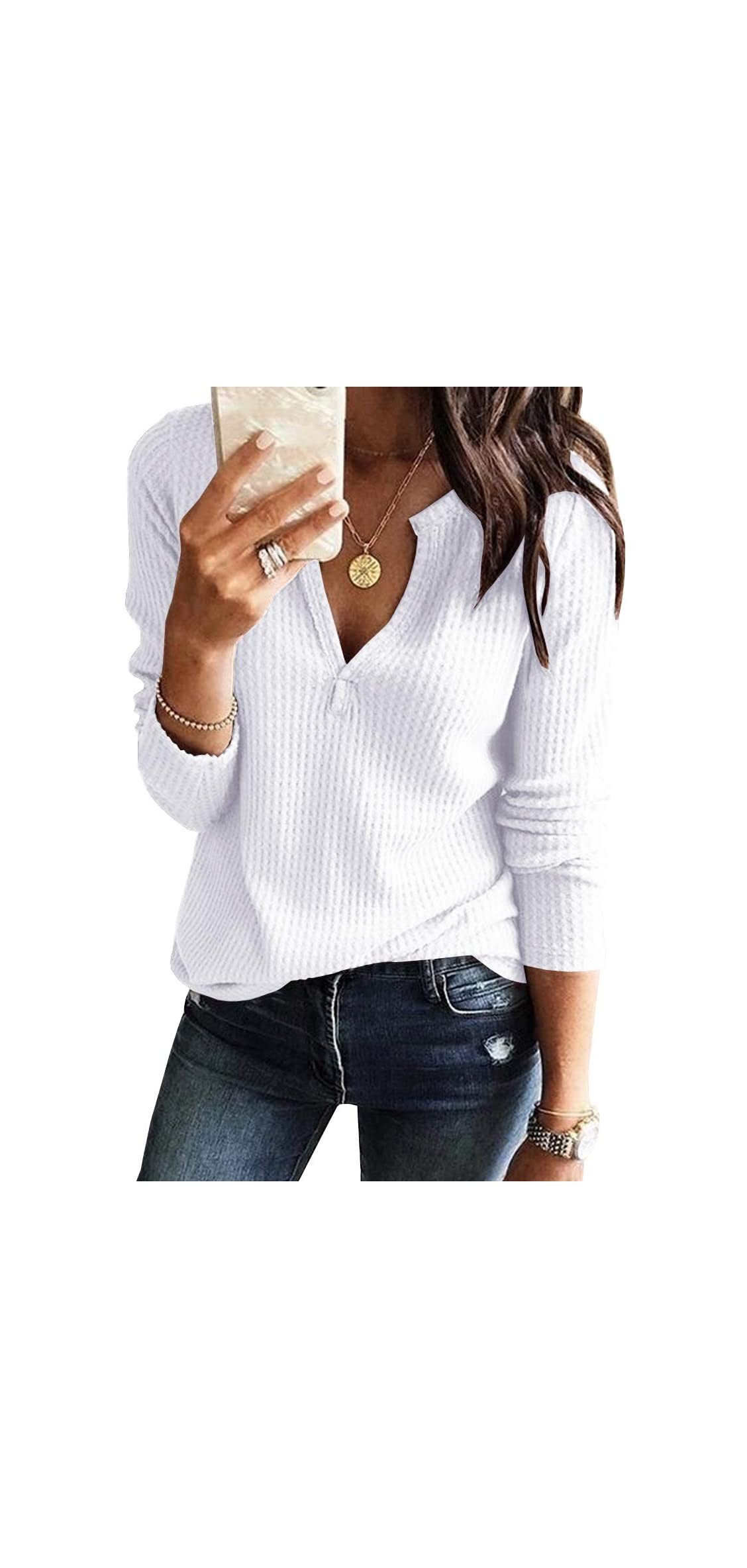 Womens V Neck Shirts Long Sleeve Waffle Knit Loose Fitting Warm