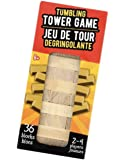 """Small Travel Size Wood Block Tower Game 4.5"""" Inches Tall 36 Pieces. Mini Stacking Tumbling Wooden Board Games"""