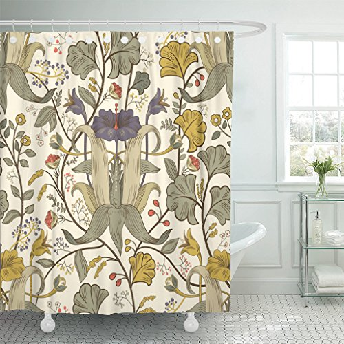 TOMPOP Shower Curtain Ancient Floral Vintage Retro Plants Flowers Modern Colorful Damask Waterproof Polyester Fabric 60 x 72 Inches Set with Hooks