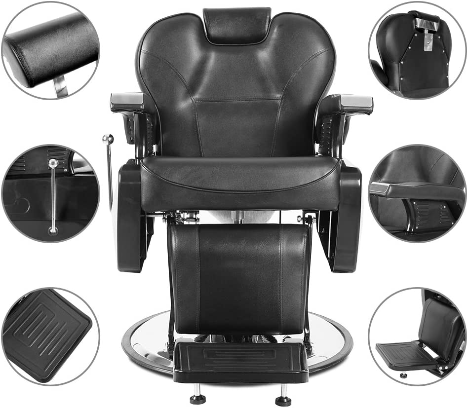 Professional Swivel Barber Chair Hydraulic Recline Barber Chairs Salon Chair for Hair Stylist Tattoo Chair Barber Salon Equipment Chair Black