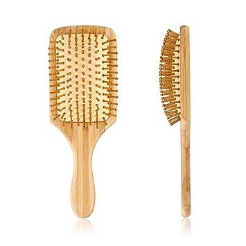 33698852d5c40 Pretty See Cepillo de pelo de Madera Peine de Masaje Cuero Cabelludo Cepillo  de Masaje Cojín de Aire Anti-Estático (B)  Amazon.es  Belleza