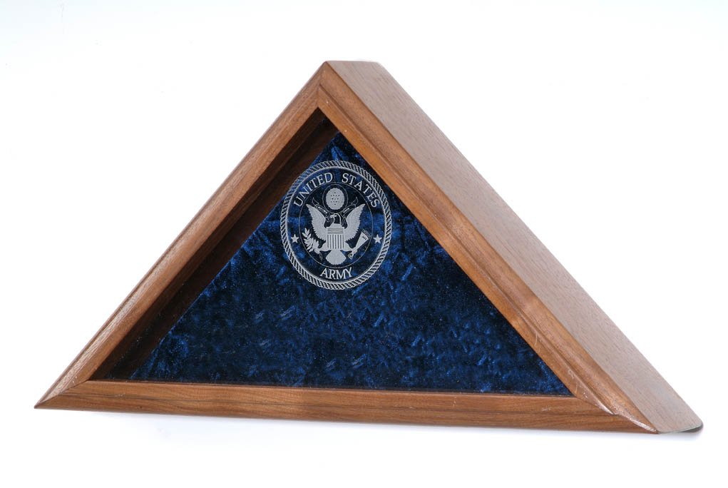 Military Burial Flag Case - INCLUDES Military Service emblem laser engraved on the glass front - For Funeral / Casket or Coffin Flag (USAF Emblem) by All American Gifts