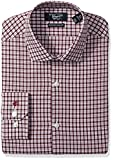 Original Penguin Men's Slim Fit Performance Spread Collar Check Dress Shirt, Berry White Check, 17.5 34/35
