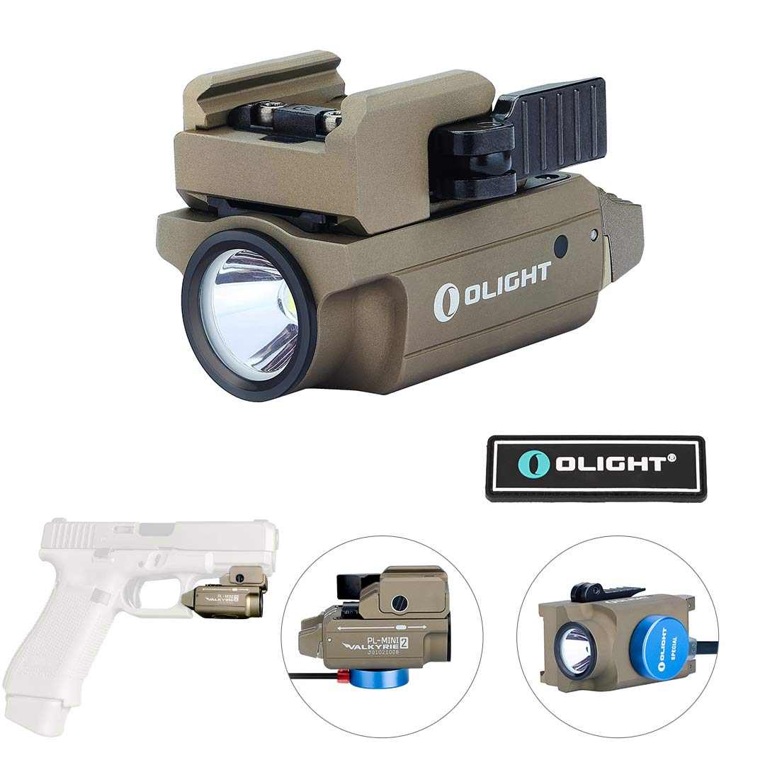 OLIGHT PL-Mini 2 Valkyrie 600 Lumens Cree XP-L HD CW Magnetic USB Rechargeable Compact Weaponlight with Adjustable Rail, Patch (FDE) by OLIGHT