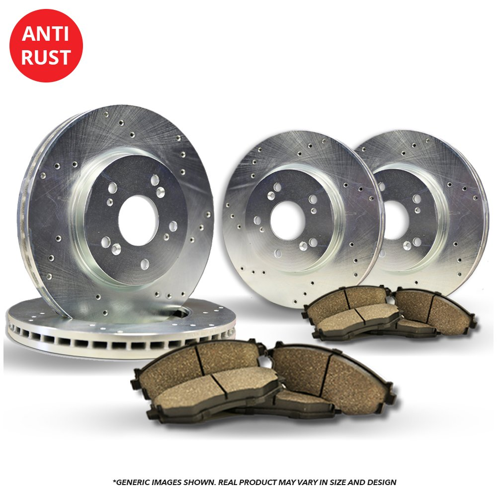 (Front+Rear Kit)(High-End) 4 Silver Coated Cross-Drilled Disc Brake Rotors + 8 Ceramic Pads(Civic) frautoparts