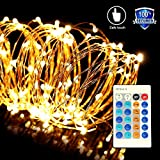 ONSON String Lights,33ft 100 LED Waterproof Dimmable Copper Wire String Lights with Remote Control,Suitable for Decorative Bedroom,Parties,Patio,Garden,Wedding,Halloween and Christmas( Warm White )