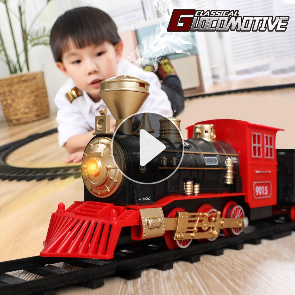 TEMI Electronic Classic Railway Train Sets w/ Steam Locomotive Engine, Cargo Car and Tracks, Battery Operated Play Set Toy w/ Smoke, Light & Sounds, Perfect for Kids, Boys & Girls, Red by TEMI