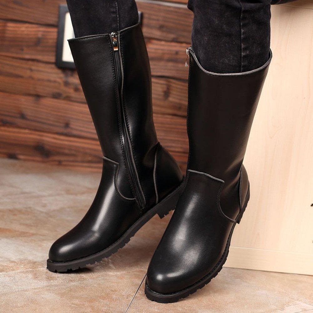 Hilotu Clearance Simple Shoes Men's Shoes Smooth Leather Upper Side Zipper Mid Calf Combat Boots for Gentlemen (Color : Black, Size : 9.5 D(M) US) by Hilotu-shoes (Image #3)