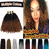Marlybob Synthetic Crochet Hair 14 Inch Deep Water Wave Ombre 2 Tones Braiding Hair Weave Extensions Afro Jerry Curl Twist Hair Braids for Black Women 3 Packs/lot 270g Black to Light Brown