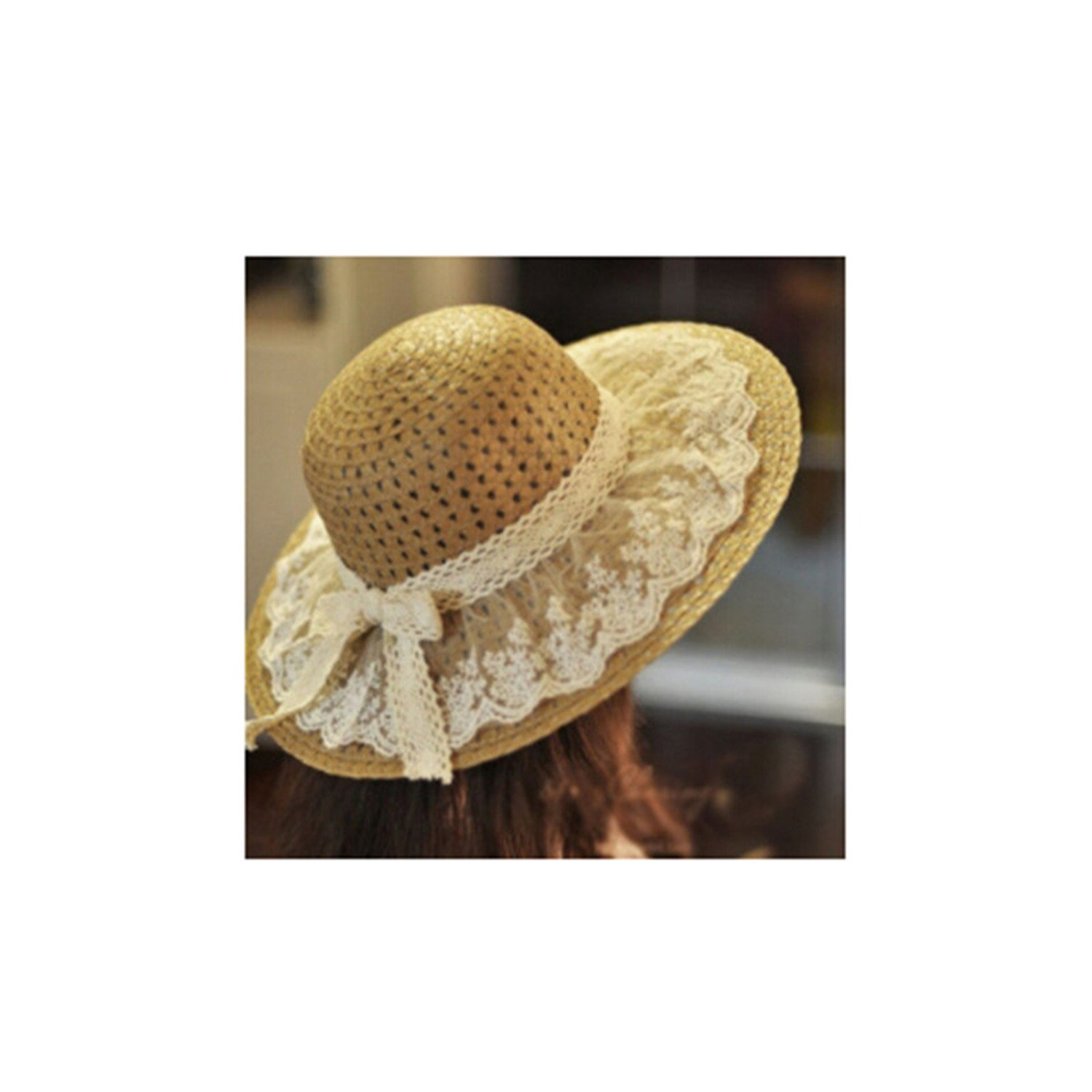 New HOT Lace Summer Sun Hats for Women Sombrero Wide Brim Floppy Female Straw Hat