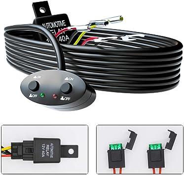 hikari 2020 new led light bar relay wiring harness kit, 2 leads 12v 40a on/ off switch power blade fuse for off road pickup trucks jeep ford atv utv  suv boat - - amazon.com  amazon.com